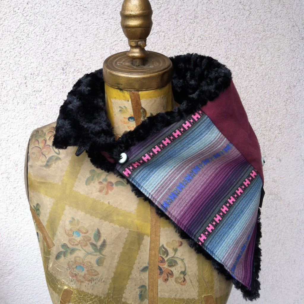 Maroon and Black Fur South American Scarf