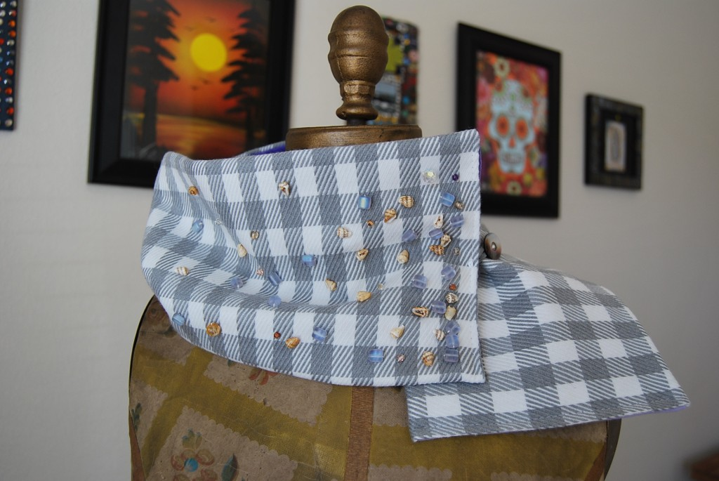 gray plaid scarf with hand beading