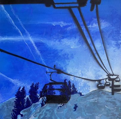 A painting of a Chairlift in Black